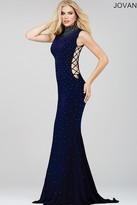 Jovani High Neck Beaded Lace Up Prom Dress 36087