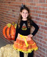 Beary Basics Black & Orange Candy Corn Top & Tutu - Toddler & Girls