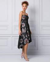 Le Château Floral Print Bonded Mesh Strapless Gown