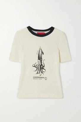 Commission Souvenir Printed Cotton-terry T-shirt - Cream