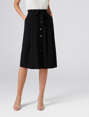 Forever New Josie Button Front Belted Midi Skirt - Black - 4
