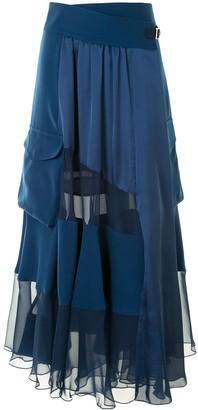 Sacai Patchwork Wrap Maxi Skirt