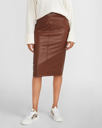 Express High Waisted Vegan Leather Seamed Pencil Skirt