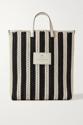 Anya Hindmarch Neeson Tall Striped Woven Leather Tote - Black