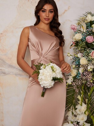 Chi Chi London One Shoulder Satin Maxi Bridesmaid Dress - Champagne