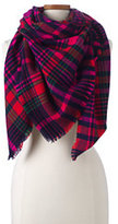Lands' End Women's Herringbone Plaid Square Scarf-Deep Sea Floral