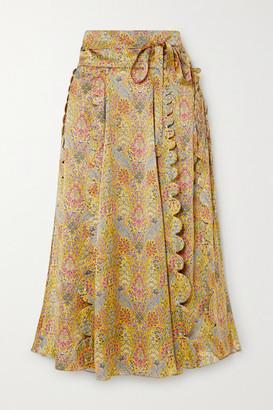 Horror Vacui Sophie Scalloped Floral-print Silk-satin Midi Skirt - Yellow
