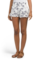 Juniors Made In Usa Embroidered Ruffle Shorts