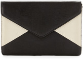 Neiman Marcus Colorblock Envelope Clutch, Black/Bone