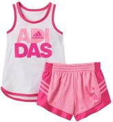 adidas Girls 4-6x Glitter Tank Top & Shorts Set
