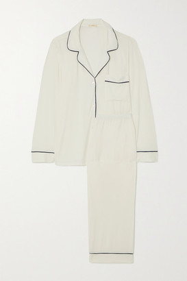 Eberjey Gisele Piped Stretch-modal Pajama Set - Ivory