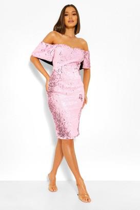 boohoo Sequin Sweetheart Off The Shoulder Midi Dress