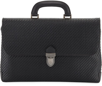 Ermenegildo Zegna Men's Pelle Tessuta Flat Briefcase Business Bag