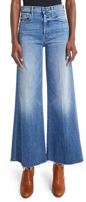 Mother The Tomcat Roller High Waist Frayed Wide Leg Jeans