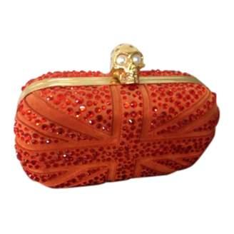 Alexander McQueen Skull Orange Suede Clutch bags