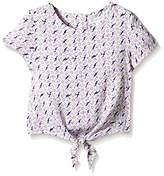 Pumpkin Patch Girl's Tie Front Flower Top Plain T-Shirt,7