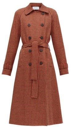 Harris Wharf London Gunclub-check Cotton-blend Twill Trench Coat - Womens - Red Multi