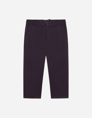 Dolce & Gabbana Poplin Pants With Embroidered Logo
