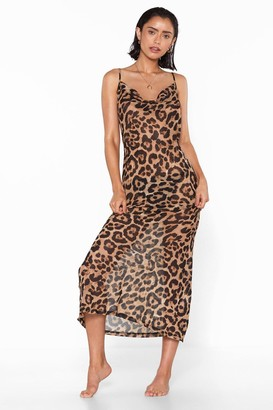 Nasty Gal Womens Leopard Print Cover-Up Maxi Dress - Brown