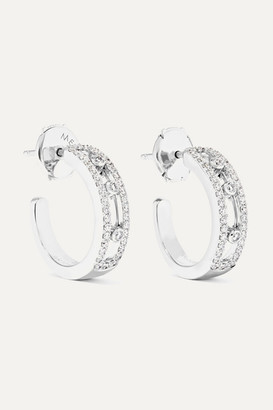 Messika Move Pave 18-karat White Gold Diamond Hoop Earrings - one size
