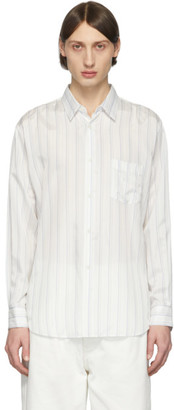 Comme des Garcons White Striped Cupro Shirt