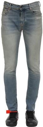 Off-White Skinny Vintage Wash Cotton Denim Jeans