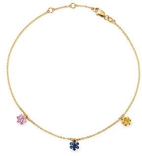 Bloomingdale's Rainbow Sapphire Flower Cluster Ankle Bracelet in 14K Yellow Gold - 100% Exclusive