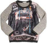 Printed Nylon & Merino Wool Sweater