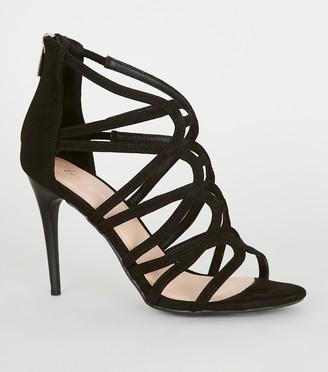 New Look Suedette Swirl Strappy Stilettos