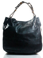 Ralph Lauren Black Brown Leather Silver Bohemian Equestrian Hobo Handbag $1225