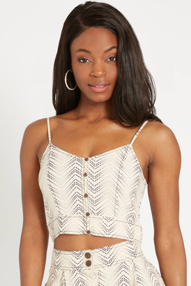 Patrons Of Peace Chevron Button Down Cami Ivory L