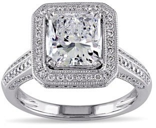 Miadora 18k White Gold 2 3/4ct TDW Certified Diamond Gemstone Accent Halo Engagement Ring