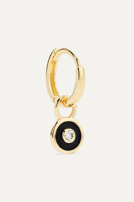 Alison Lou Huggy 14-karat Gold And Enamel Diamond Hoop Earring