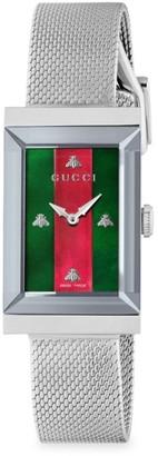 Gucci G-Frame Gold PVD Case 21x34MM MOP Dial Mesh Metal Strap Watch