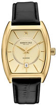 Kenneth Cole Goldtone Stainless Steel and Leather Barrel Strap Watch, 10030818