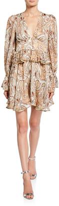 Shona Joy Pallenberg Paisley Plunge-Neck Long-Sleeve Mini Dress w/ Bead Trim