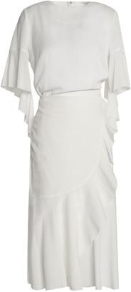 GOEN.J Wrap-effect Ruffle-trimmed Silk-blend Dress