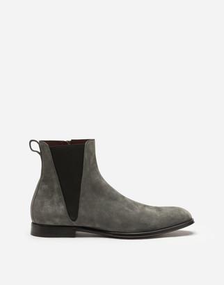 Dolce & Gabbana Velvet Calfskin Chelsea Boots