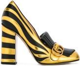 Gucci zebra fringed pumps
