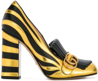 Gucci Zebra Fringed Pumps