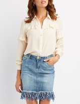 Charlotte Russe Ruffle-Trim Button-Up Top