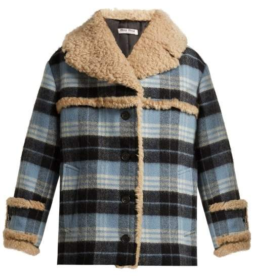 Miu Miu Plaid Wool Blend And Shearling Coat - Womens - Light Blue