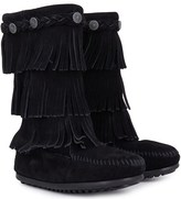 Minnetonka Black Tall Fringe Boots