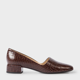Paul Smith Women's Brown Mock Croc Leather 'Tyne' Court Shoes