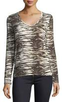 Majestic Paris for Neiman Marcus Long-Sleeve V-Neck Tiger-Print T-Shirt
