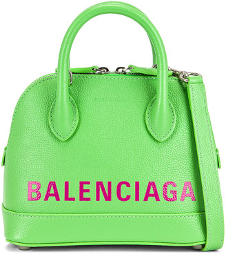 Balenciaga XXS Ville Top Handle Bag in Lt Green & L Fuchsia | FWRD