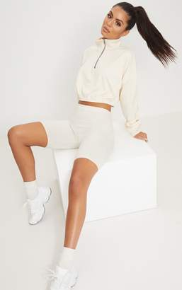 PrettyLittleThing Cream Rib Zip Front Long Sleeve Sweater