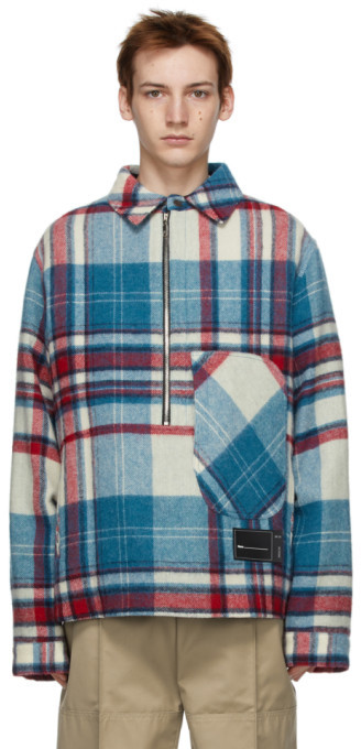 we11done Blue Wool Plaid Anorak Shirt