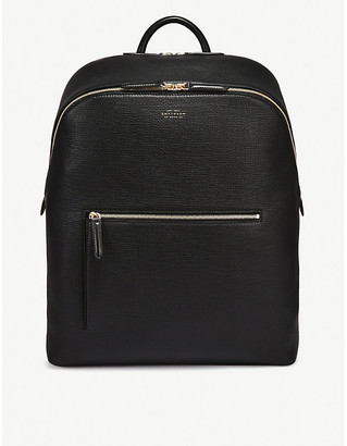 Smythson Panama double zip crossgrain leather backpack