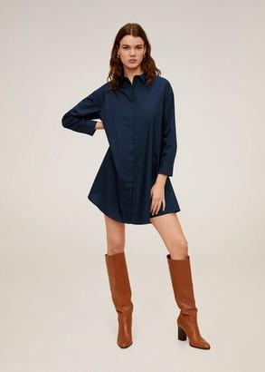 MANGO Cotton shirt dress dark navy - 2 - Women